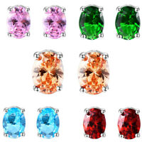 Wholesale 5Pcs Peridot Garnet Citrine Onyx Topaz Gemstone Silver Stud Earrings