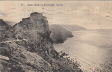 VINTAGE POSTCARD OF CASTLE ROCK BY MOONLIGHT LYNTON DEVON POSTED 1945.