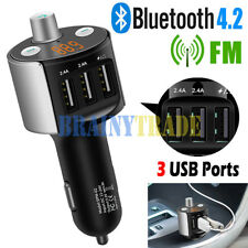 Bluetooth 4.2 Car FM Transmitter Wireless Radio Adapter USB Charger+phone holder