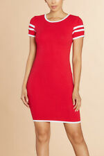 Varsity Stripe Short Sleeve Round Crew Neck Solid Bodycon Mini Party Sexy Dress