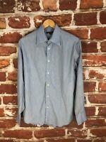 $325 John Varvatos L 16 New York Blue Striped Designer Label Work Dress Shirt