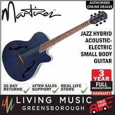 NEW Martinez Jazz Hybrid Acoustic-Electric Small Body Cutaway Guitar (Blue)