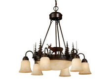 Deer Vaxcel Rustic Country Dining Light 9L Chandelier Bryce Lighting CH55406BBZ