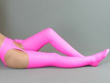 New Hot Pink Lycra zentai spandex sexy Open crotch long stocking