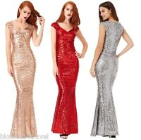 Goddiva Sequin Sweetheart Fishtail Maxi Evening Dress Prom Bridesmaid Ball Gown