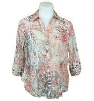CHICOS 3/4 Sleeve Button Up Multicolor Boho Abstract Blouse Sz 1 - Medium