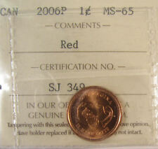 2006P Canada 1 Cent  Magnetic ICCS graded MS-65; RED (small cent or penny)