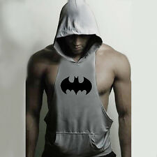 Hot Men Batman Gym Clothing Bodybuilding Hoodie Tank Top Muscle Hooded Shirt