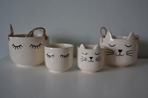CATS WHISKERS / EYELASH HANGING PLANT POT PLANTER - CERAMIC INDOOR HOUSE FACE