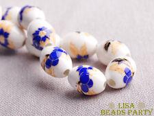 20pcs 15x10mm Loose Ceramic Porcelain Big Hole Oval Beads Deep Blue Begonia
