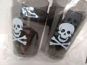Black Skull & Cross Bones  Plastic shot Glasses  set of 4  New Halloween