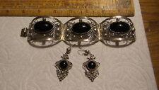 Bracelet & Earrings Set Pierced,Wide Vintage Mexican Silver & Black Onyx