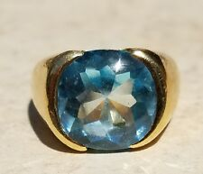 ESTATE 18K YELLOW GOLD BLUE TOPAZ SOLITAIRE RING-SIZE 6.25-12g! ITALY FANCY CUT