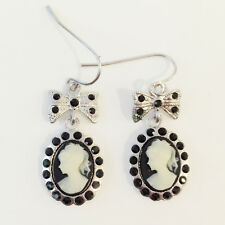 New Lady Cameo Vintage Style Black White Silver Plated Bow Dangle Earring ER1488