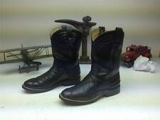 BLACK OSTRICH LEATHER WESTERN ROPER BOOTS SIZE 6-7 B