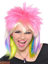 Ladies Punk Rock Chick Wig Adults 80s Mullet Rocker Fancy Dress Accessory Womens