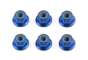 Team Associated 31551 FT Locknuts, M4 flanged, blue aluminum (ASC31551)