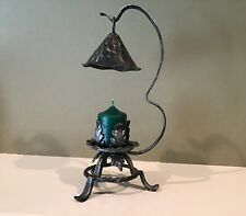 Wrought Iron Leaf Candle Holder with Hanging Snuffer