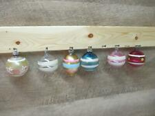 (6) Vintage Stripped Clear Translucent Solid Shiny Brite & Other Ornaments