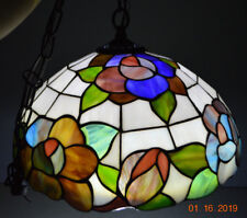 """""""Tiffany"""" style stained glass Purple Blue Green Flowers Hanging Ceiling Light"""