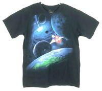 Liquid Blue Space Shuttle Short Sleeve Graphic Shirt Men's Size L Planets EUC