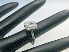 Sterling Silver Cz Halo Ring, Engagement, sz. 5, 3.90 grams