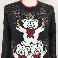 Ugly Christmas Sweater Teddy Bear Tree Candles Red Black JJ Browne Medium