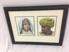 Hans Kleiss (1901-1973) Moroccan Man And Women Original Watercolor painting