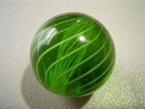 ANTIQUE LARGE GREEN LATTICINIO CORE SWIRL MARBLE IN LOVELY CONDITION GERMAN?