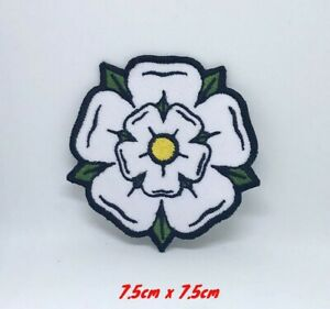 White Yorkshire Rose iron on sew on Embroidered Patch #698W
