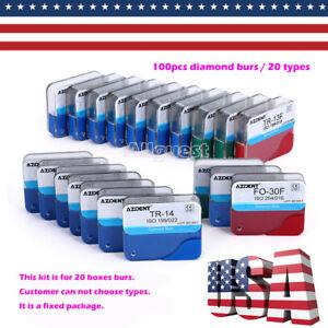 20Types 100Pcs Dental FG Diamond Burs Drills For High Speed Handpiece Medium FG