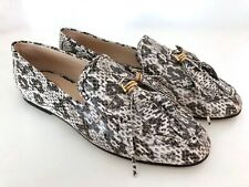 Tod's Schuhe Loafer 38 Grau Weiß Slipper Leder Python Faux Reptil Feather Tassel
