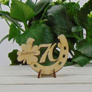 Personalisiertes Geschenk zum 70. Geburtstag Hufeisen Kleeblatt Holz Tischdeko