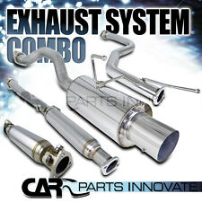 "Fit 92-00 Civic DX LX EX 2/4Dr Test Pipe+4"" Tip Catback Exhaust Muffler+Silencer"