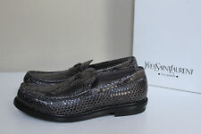 New sz 7 US / 40 YSL SAINT LAURENT PYTHON Brown Leather LOAFERS MEN Shoes