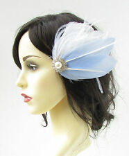 White Pastel Light Blue Silver Feather Fascinator Hair Clip Bridal 1920s Vtg 757