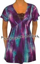 XP1 FUNFASH WOMEN SLIMMING LACE BLACK PURPLE PLUS SIZE TOP SHIRT BLOUSE 1X XL 16
