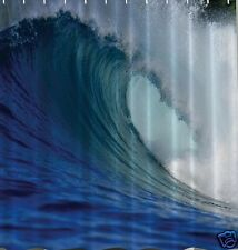 Ocean Wave Fabric SHOWER CURTAIN Surf Surfing Tropical Water Crest Bath Decor