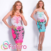 Party Strapless Bodycon Mini Dress Bandeau Sequined Tunic Sizes 8-14 FC1447