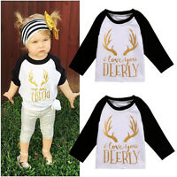 Toddler Kids Infant Baby Girls Christmas Long Sleeve Tops T-shirt Clothes 0-5Y