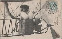 Postcard Easter Little Girl in Airplane Holding Eggs 1904