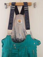 Vintage 80s Descente Womens Ski Overalls Braces Green Snow Gear Pants S