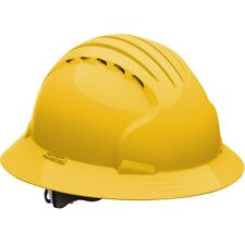 JSP Hard Hat Vented Full Brim Yellow with 6 Point Ratchet Suspension