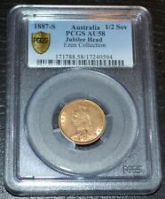 1887-S Australia Gold Half Sovereign Jubilee Head Graded by PCGS as AU58