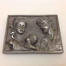 PELTRO Cesellato A Mano Miniature 3D Wall/Desk Pewter Plaque Holy Family