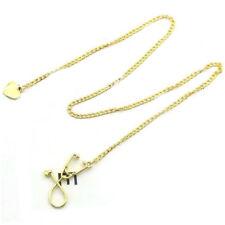 Women Medical Doctor Nurse Stethoscope Heart Charm Pendant Chain Necklace