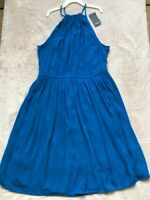 Forever 21 Teal Blue Halter Flare Dress, Size SMALL, Sleeveless, Lined, NWT!