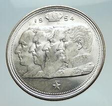 1954 BELGIUM Kings Leopold I II III & Albert I Silver 100 Francs Coin i74738