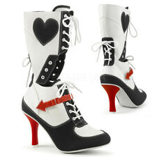 Harley Quinn Black White Gangster Mafia Heel Mid Calf Lace Up Boots
