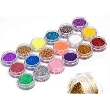 18 Pots Nail Art GLITTER POWDER Assorted Colors-UV GEL Acrylic Powder Decoration
